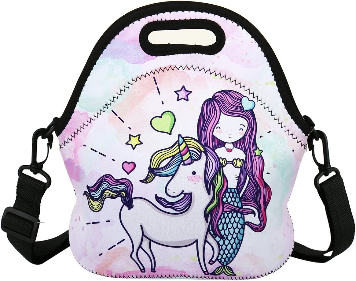 Violet Mist Insulated Neoprene Lunch Bag Tote with Detachable Adjustable ShoulderThermal Waterproof Cartoon Large Capacity Outdoor Picnic Lunch Box for Kids Teens Adults (Unicorn Mermaid)