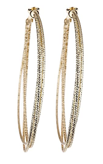 Clip On Hoop Earrings - Gold Plated With Three Hoops - Delta by Bello London DgJ1G3Pnv
