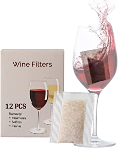 Trobing Wine Filter (12 Bags), Removes Sulfites Histamines and Tannin, No More Wine Headaches Nausea, Wine Allergy Sensitivity Prevention