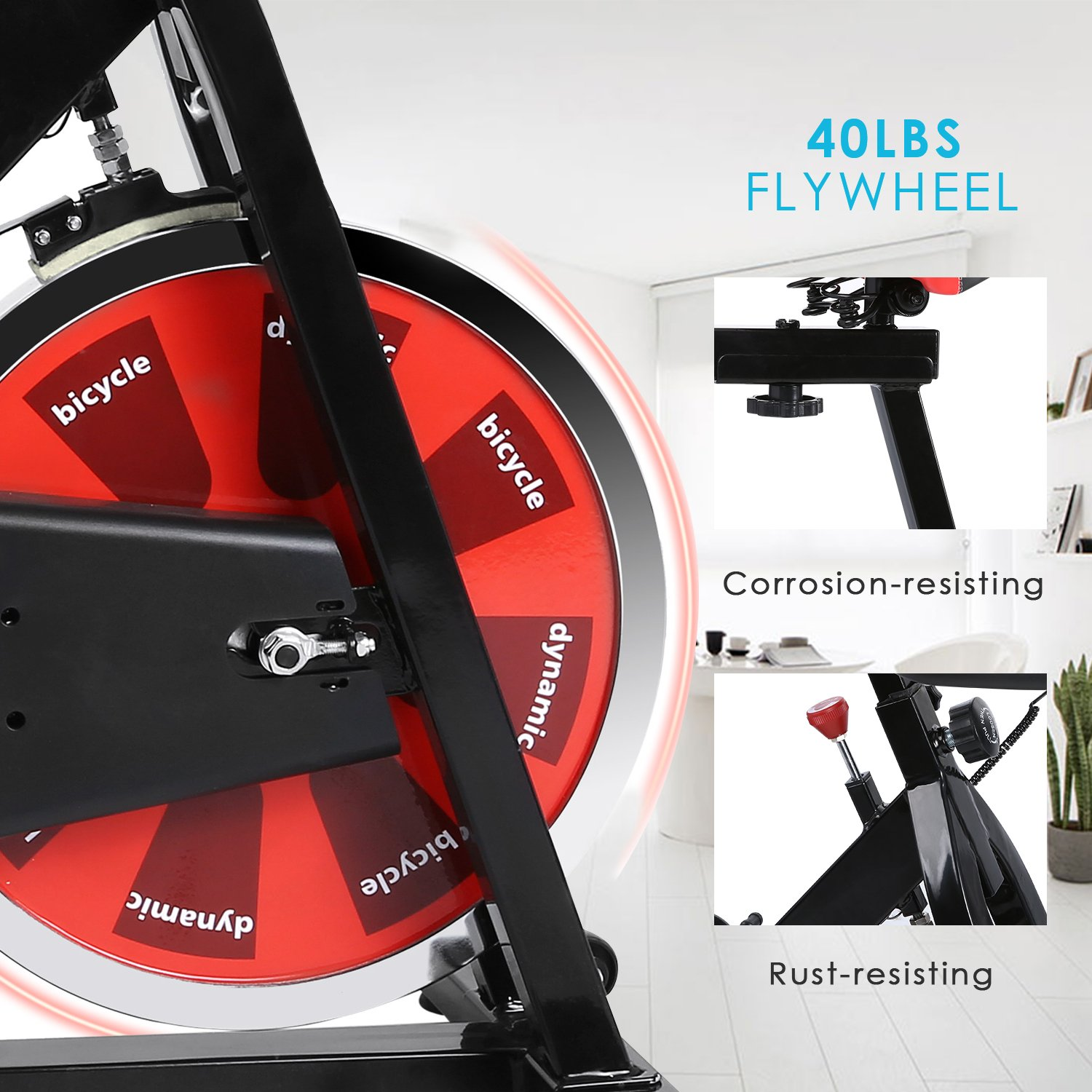 ANCHEER Stationary Bike, Indoor Cycling Exercise Bike 40 LBS Flywheel (Black_NO Pulse) by ANCHEER (Image #1)