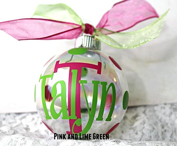 1 personalized christmas ornaments custom monogrammed with initial and name - Christmas Decorations Names