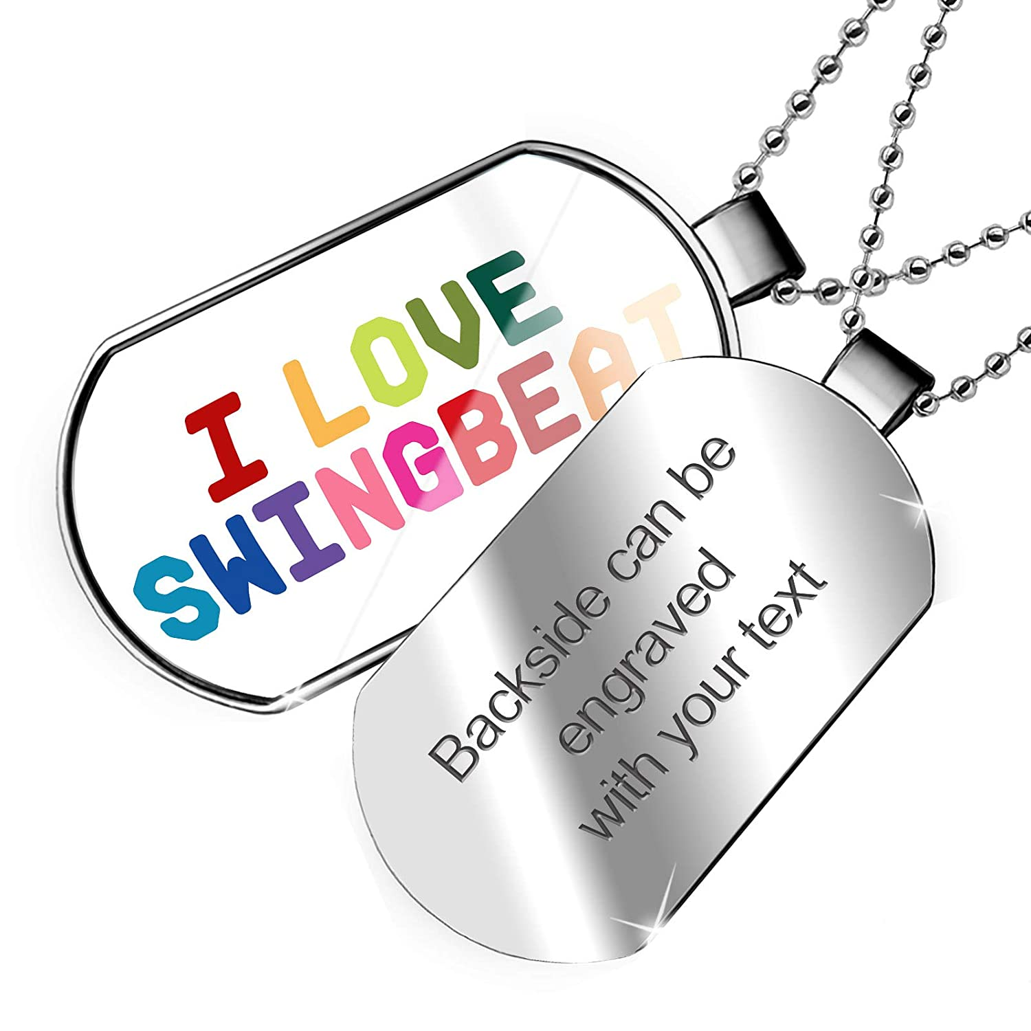 NEONBLOND Personalized Name Engraved I Love Swingbeat,Colorful Dogtag Necklace