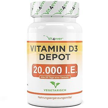 Vit4ever® Vitamin D3 20.000 I.E. Depot 240 Tabletten - Hochdosiert - Laborgeprüft - Vegetarisch - 20 Tagesdosis 1000 I.E. pro