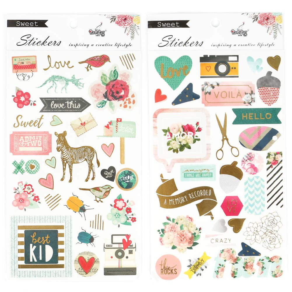 Merssyria 4 Sheets Planner Stickers Stickers for Diary Calendar Albums Decoration Scrapbook Planner Journal Child DIY Toy School Office Supplies