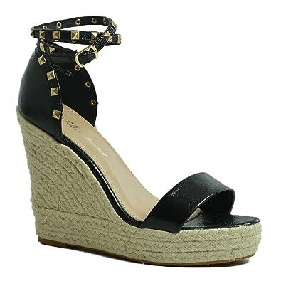 427a65672d7e4f CucuFashion Womens High Wedge Heels Ladies Studded Platforms Espadrille  Sandals Ankle Strap Summer Shoes Size UK 3-8  Amazon.co.uk  Shoes   Bags