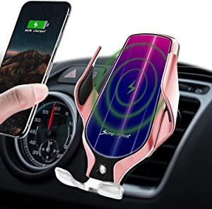 LUKKAHH Wireless Car Charger Mount,Auto-Clamping Air Vent Phone Holder,10W Qi Fast Car Charging,Compatible iPhone 11/11 Pro/11 Pro Max/XS/XS Max/X/8/8+, Samsung Note9/Note10/S9+/S10+(Rose Gold)…