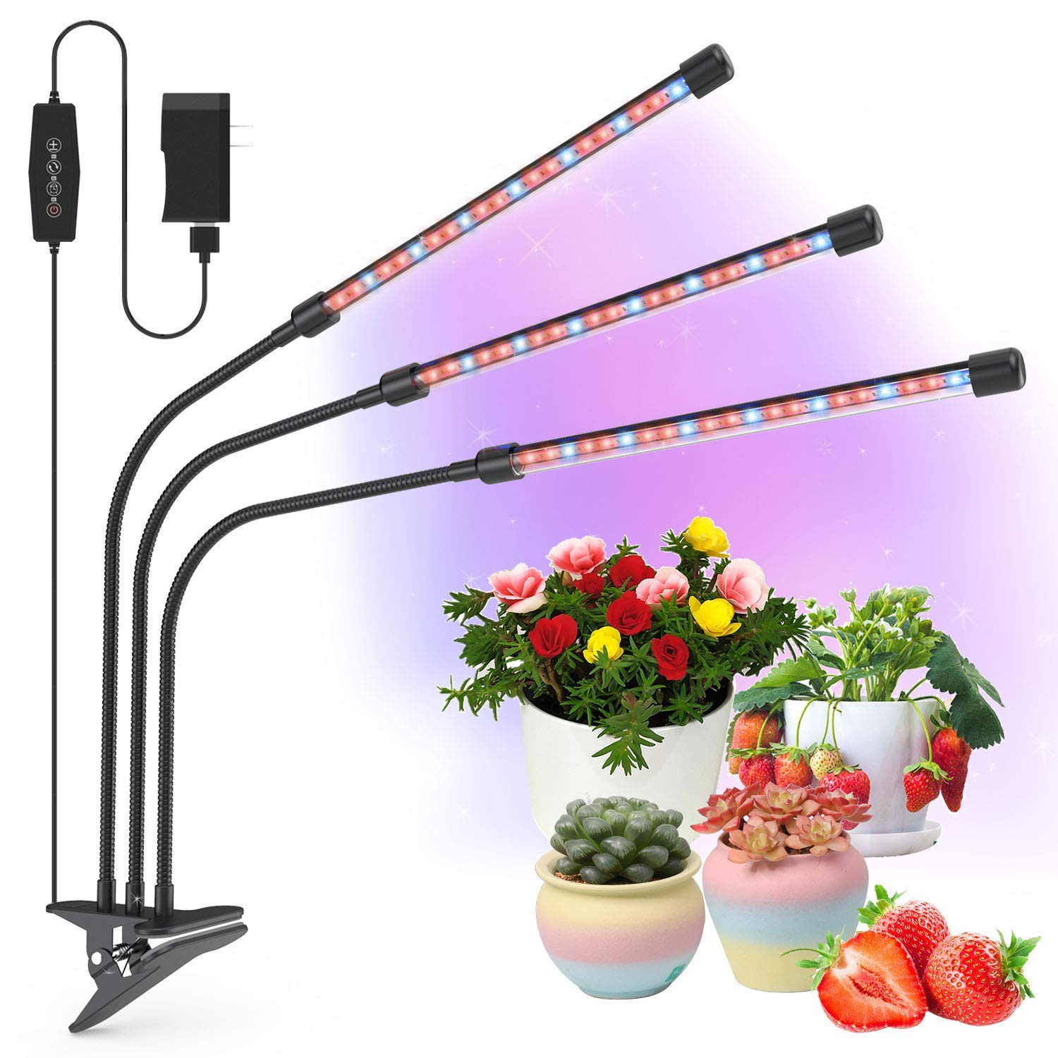 Grow Light, 30W Tri Head Timing LED Plant Grow Lights for ...