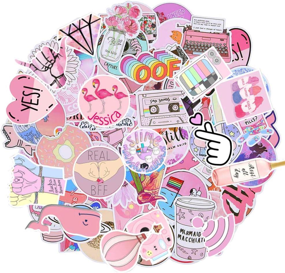 Water Bottle Decal Laptop Sticker Pink Floral Doodle Design Moccasin Flower Inspired Vinyl waterproof Sticker Pink Lady Slipper Orchid