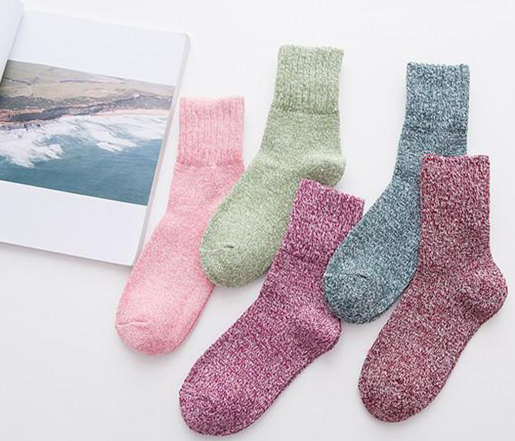 Yuhan Pretty 5 Pairs Womens Winter Warm Thick Knit Wool Cozy Vintage Crew Socks (Style 2, 5PCS) by Yuhan Pretty (Image #3)
