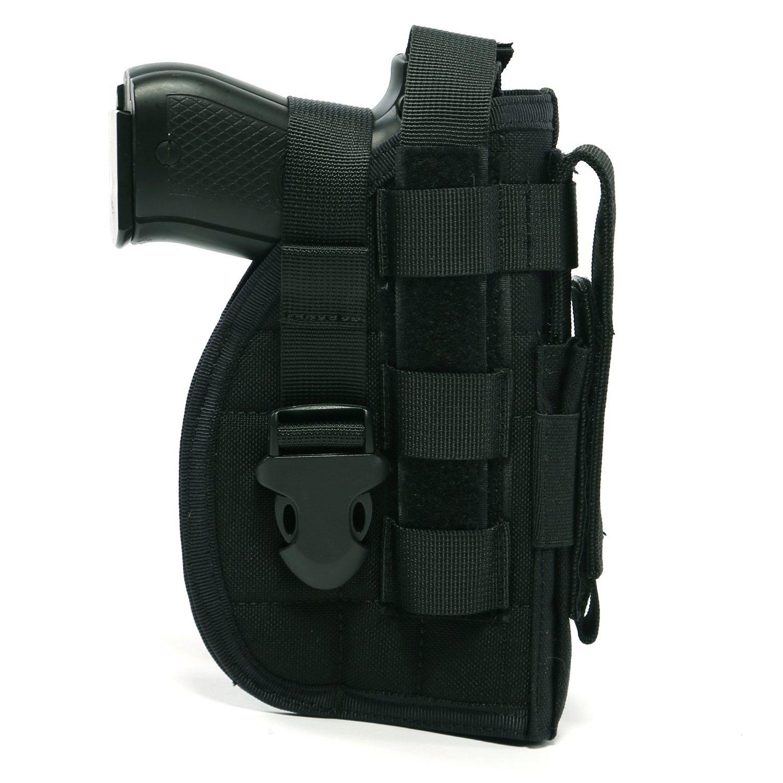 Yisibo Tactical Molle nylon pistola pistola modular con bolsa de mag para tiradores derecho 1911 45 92 96 Glock (Negro)