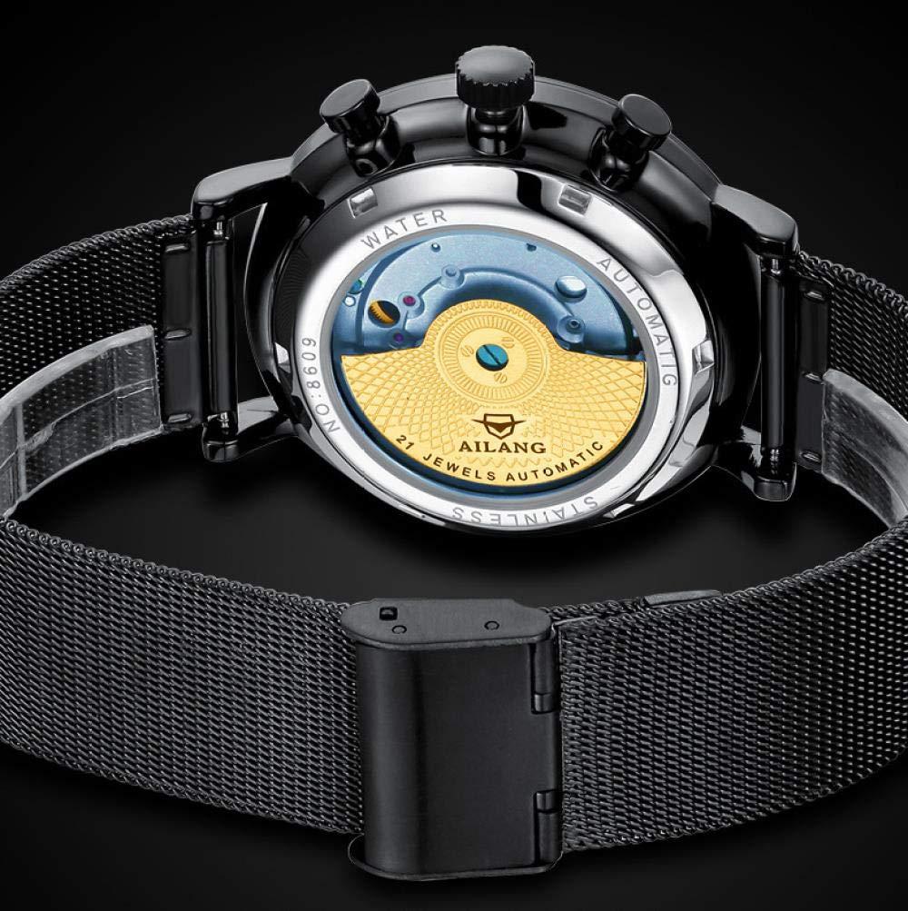Concept vattentät modetrend enkel automatisk mekanisk klocka Black Shell Blue Face Black Leather