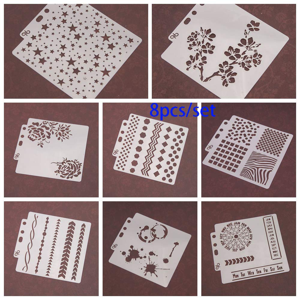 8pcs/Set DIY Craft Star Layering Stencils for Walls Painting Scrapbooking Stamp Album Decor Embossing Paper Card Template by ZDUANG (Image #4)