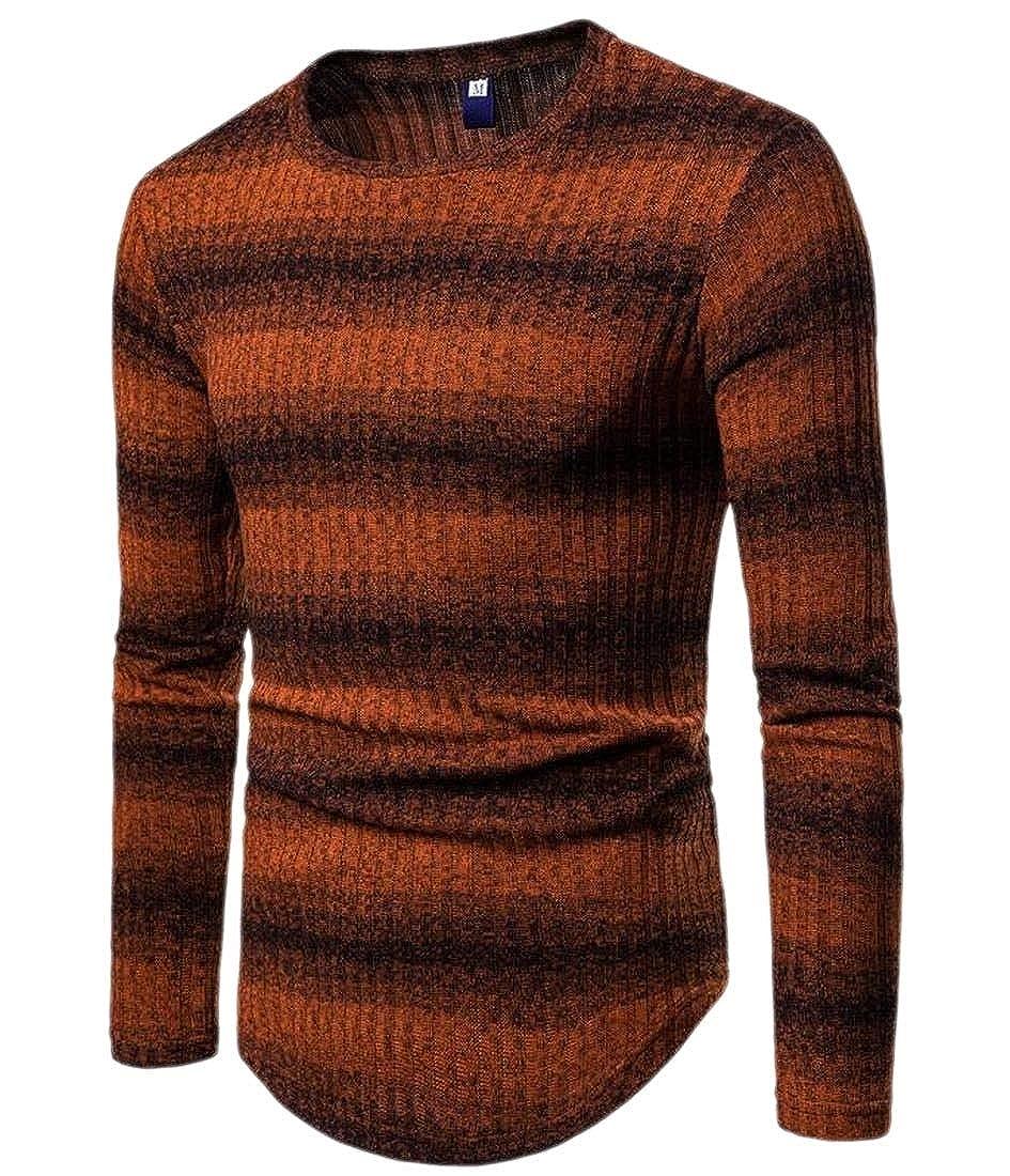 ZXFHZS Men Slim Long Sleeve Stripe Crew Neck Sweater Top Blouse