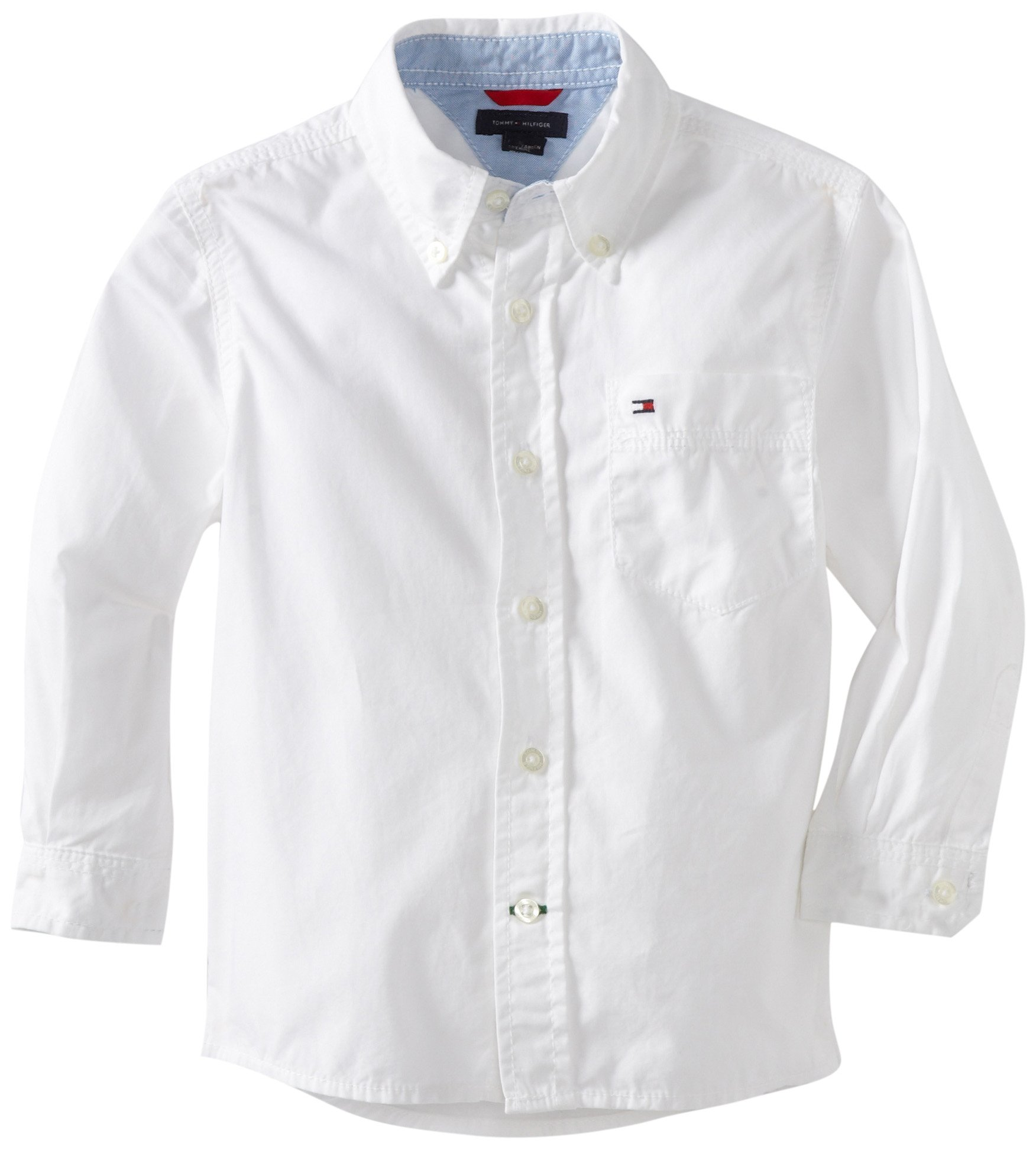 Tommy Hilfiger Little Boys' Classic Long Sleeve Woven Shirt, Classic White, 4/Regular