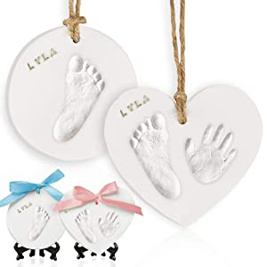 Baby Handprint Footprint Ornament Keepsake Kit - Newborn Imprint Ornament Kit for Baby Girl, Boy - Personalized New Baby Gifts for New Parents - Hand Print Christmas Ornament Kit (Multi-Colored)