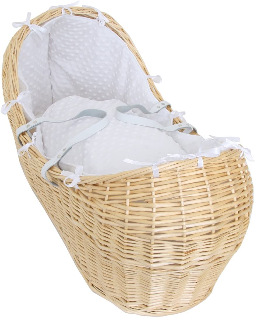 White Isabella Alicia Popcorn Izzy Pod Natural Moses Basket