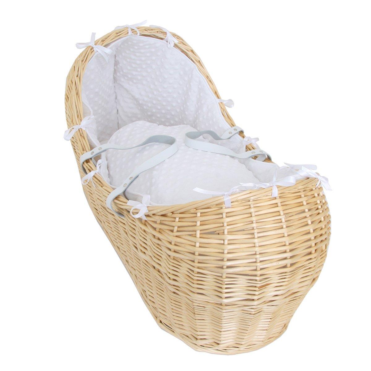 Isabella Alicia Popcorn Izzy Pod Natural Moses Basket (White) BUIAMBPODNATFAPOPWHT