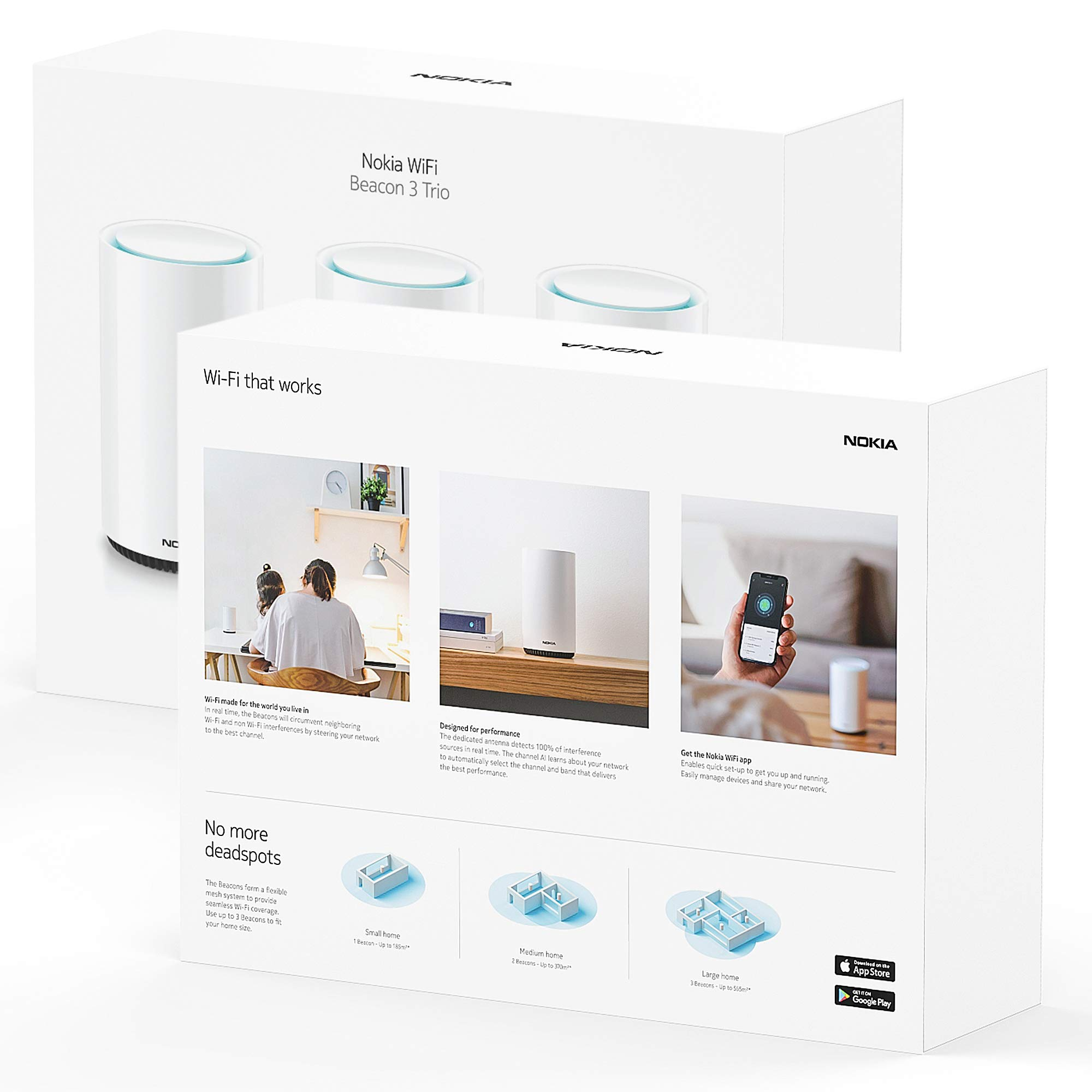 Nokia WiFi Beacon 3 Mesh Router System - Intelligent, Seamless Whole Home WiFi Coverage Extender - Connect Your Whole House WiFi Network, Ultra Fast Self-Healing Mesh Router System - Trio (3-Pack)