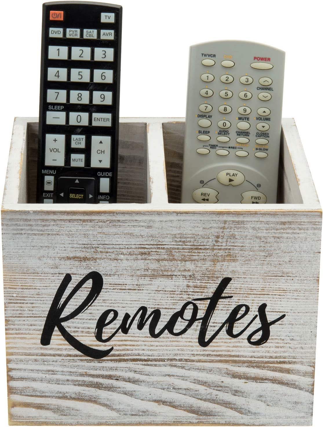 MyGift 2 Slot Shabby Whitewashed Wood Remote Control Holder Caddy/Media Storage Box