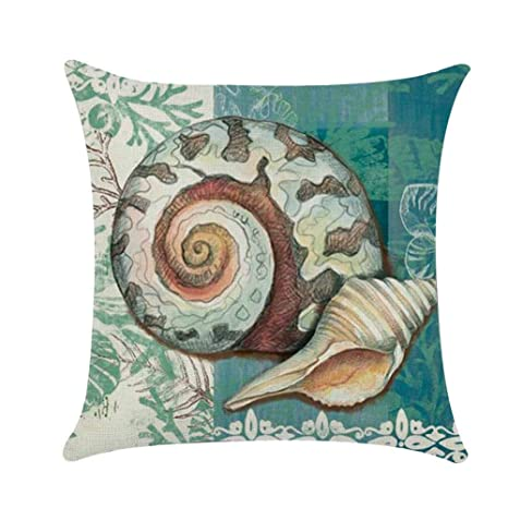 wintefei Throw Pillow Case, 18 inch Vintage Sea Shell Whale Turtle Bed Sofa Cushion Cover