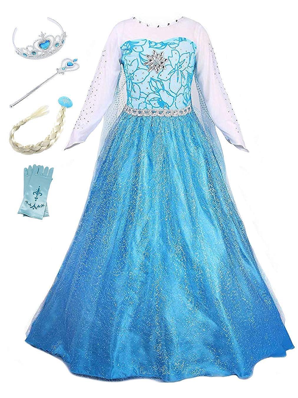 YOSICIL Vestido de Princesa Elsa Niña Reino de Hielo Princesa Cosplay Disfraz Infantil niña Reina Frozen Princesa Disfraz Regalo Cumpleaños Traje de ...