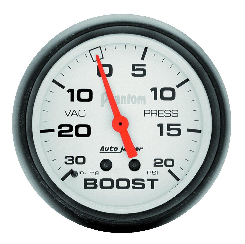 Auto Meter 5801 Phantom 2-5/8' 30 in. Hg/20 PSI Mechanical Vacuum/Boost Gauge