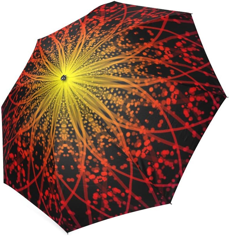 Custom Abstract Psychedelic Starburst Compact Travel Windproof Rainproof Foldable Umbrella