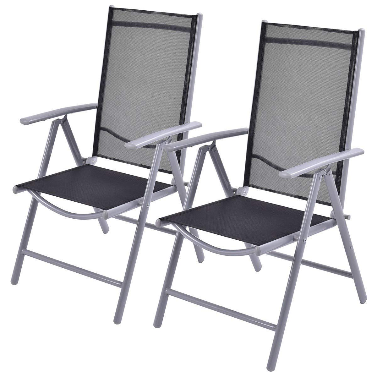 Set of 2 Patio Folding Chairs Adjustable Reclining Indoor Outdoor Garden Pool