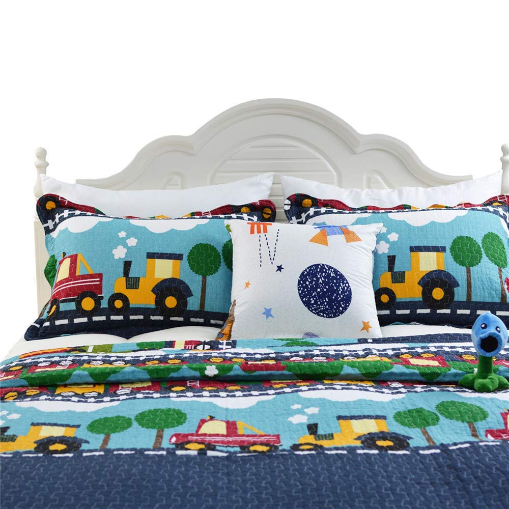 Abreeze 3pc 100% Cotton Plaid Quilt Shams Comforter Children's Bedspread Set Train Patchwork Pattern Twin Size by Abreeze (Image #3)
