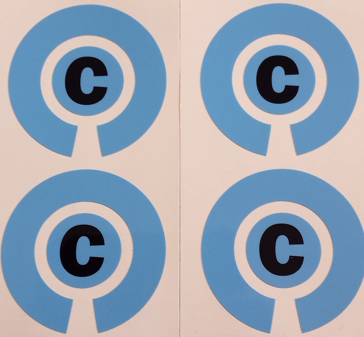 Crown Green Lawn Indoor Bowls Adhesive Lettered Coloured Marker Labels Set of 4 (Blue, C)