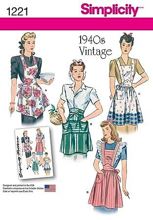 Simplicity 1221 Größe A Schnittmuster Vintage Schürzen Schnittmuster ...