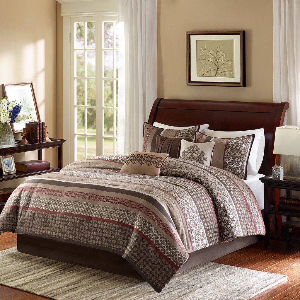 Brown and red bedding - Madison Park Princeton 7 Piece Comforter Set Queen Red