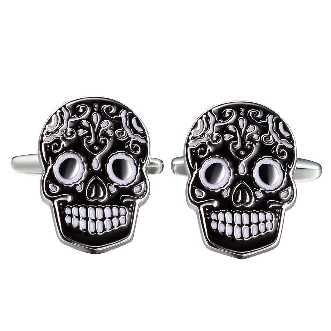 Three Keys Jewelry Stainless steel Black Brass Men's Skull Cufflinks