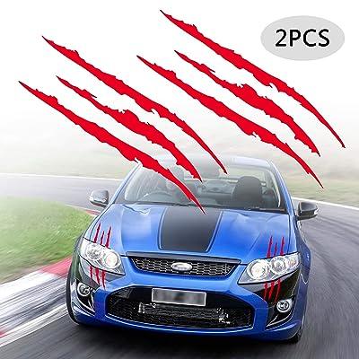 TOMALL 2 Pcs Claw Marks Headlight Reflective Sticker Waterproof Scratch Car Sticker Scratch Stripe Decal Car Sticker for Car Headlamp Engine Red: Automotive