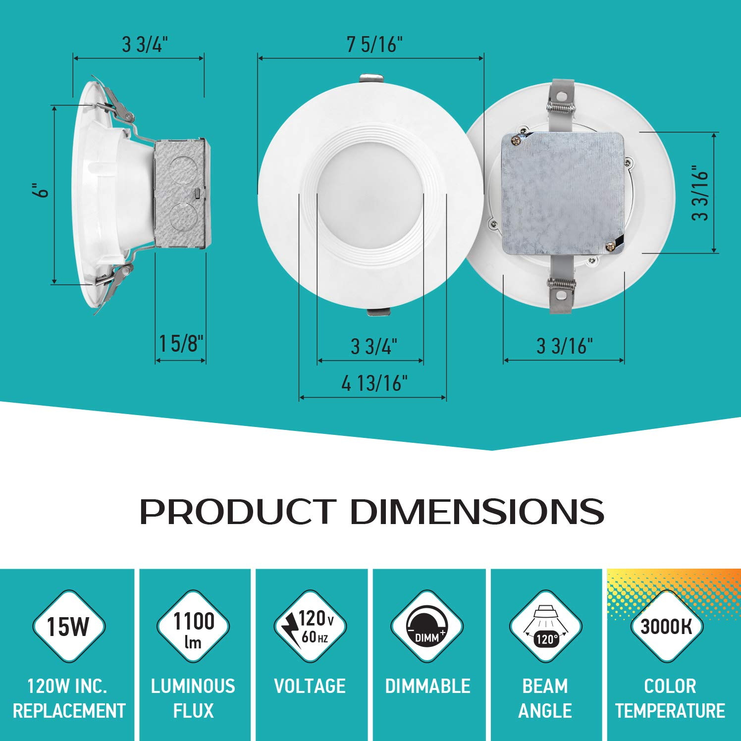 6 inch LED Ceiling Recessed Downlight With Junction Box Baffle Trim IC Rated 15W 120Watt Repl 12 Pack LED Canless Downlight LUXTER 4000K 1100Lm Wet Location ETL and Energy Star Listed Dimmable