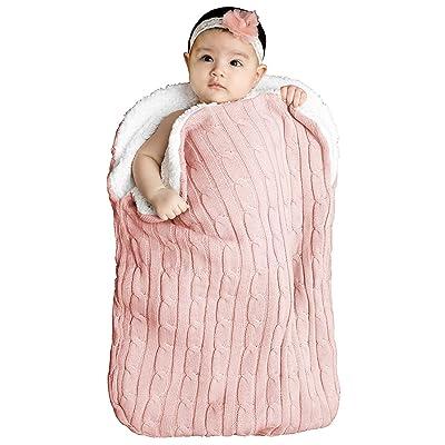 Baby Sleeping Bag with Hood and Zip Cotton Minky Stroller Blanket Babyshower Pink Sleeping Sack Baby Wrap Bag Baby Girl Sleeping Bag