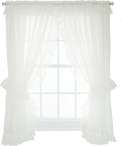 Ellis Curtain Jessica Sheer Ruffled Priscilla Pair Curtains with Ties, 130 by 63-Inch, Ivory