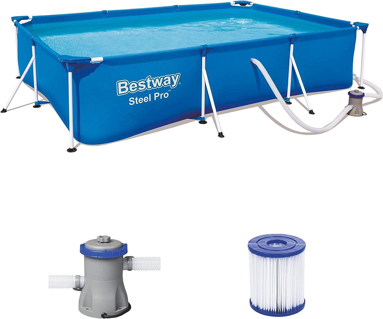 Bestway Set 300x201x66 cm, Stahlrahmenpool mit Filterpumpe Steel ProPool-Piscina con Marco de Acero y Bomba de Filtro (300 x 201 x 66 cm), Azul