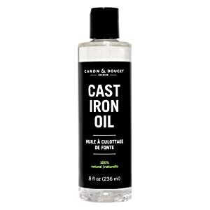 Caron & Doucet - Cast Iron Seasoning Oil & Conditioner - 100% Plant Based From Refined Coconut Oil, Will Not Go Rancid or Sticky - Helps Maintain Seasoning on All Cast Iron Cookware. (8oz Plastic)