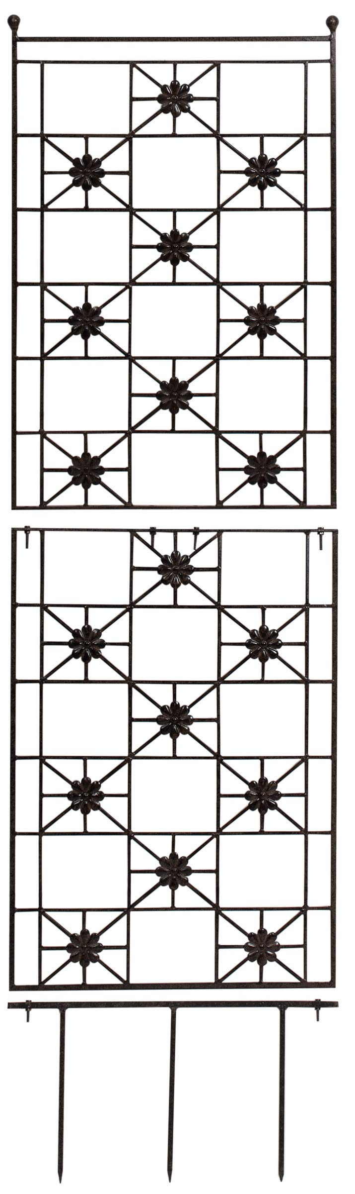 H Potter 5.5 Foot Tall Garden Flower Trellis Wrought Iron Heavy Scroll Metal Decoration Lawn, Patio & Wall Decor Screen for Rose, Clematis, Ivy Patio Deck Wall Art by H Potter (Image #2)
