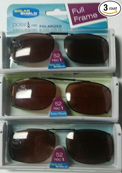 ad6cfb8593 Image Unavailable. Image not available for. Color  SET OF 3- SOLAR SHIELD  52 REC 1 Brown Full Frame POLARIZED CLIP ON SUNGLASS