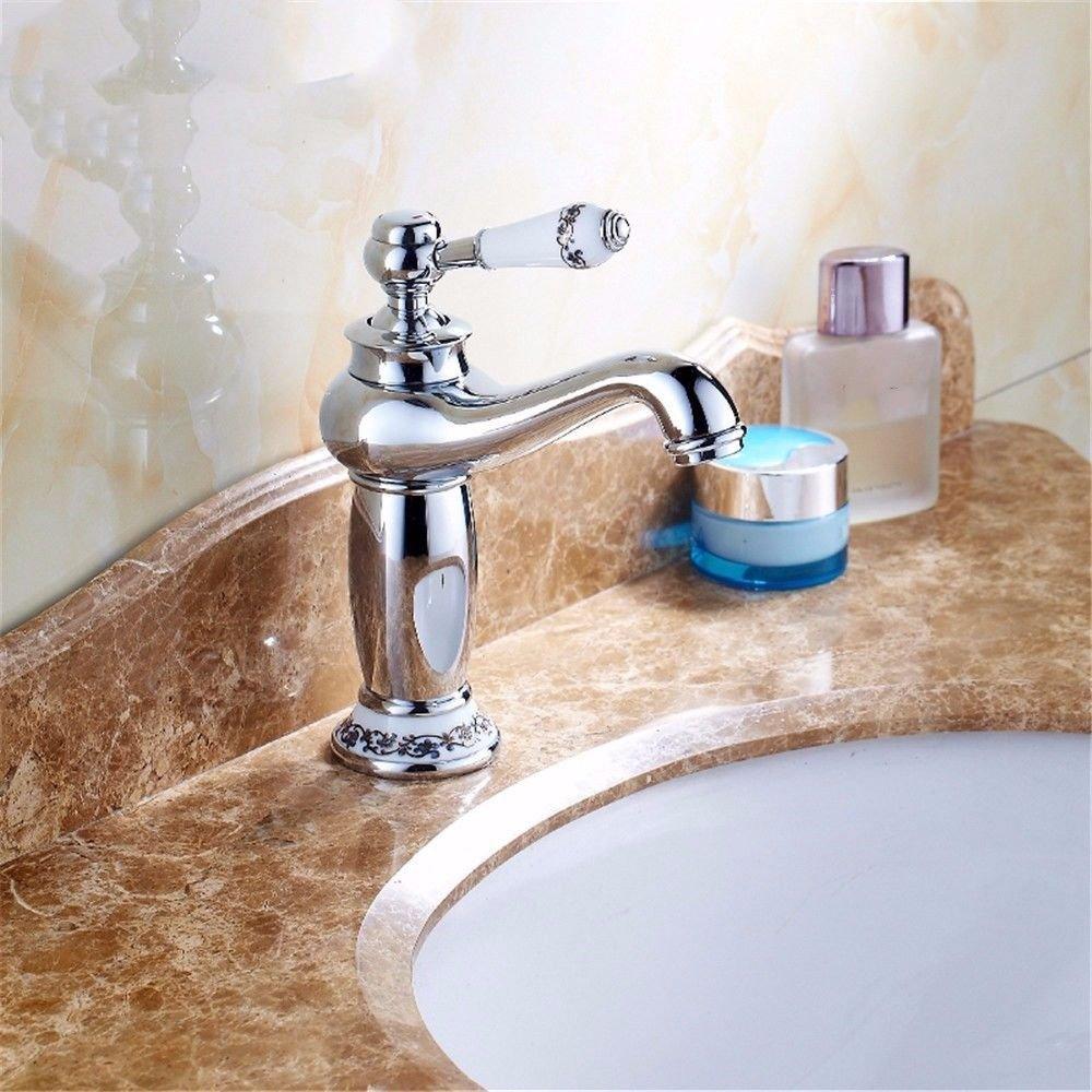 MEIBATH Waschtischarmatur Badezimmer Waschbecken Wasserhahn Küchenarmaturen Silber Warmes und Kaltes Wasser antiken Schwenken Küchen Wasserhahn Badarmatur