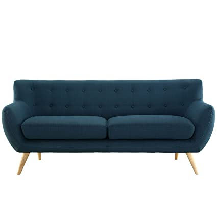 Modern Couch Intended Modway Remark Midcentury Modern Sofa With Upholstered Fabric In Azure Amazoncom