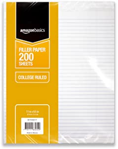 "AmazonBasics College Ruled Loose Leaf Filler Paper, 200-Sheet, 11"" x 8.5"", 6-Pack"