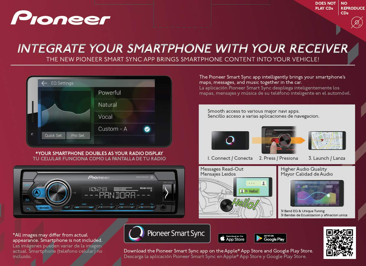 Amazon.com: Pioneer Car Stereo Bundle with 4 Speakers MXT- S3166BT Digital Media Receiver with Pandora Premium Trial Does NOT Play CDs: Car Electronics