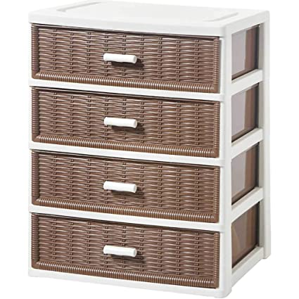 Storage Box Multi Layer Plastic Rattan Storage Cabinet With Drawer, Clothing  Storage Cube Wardrobe