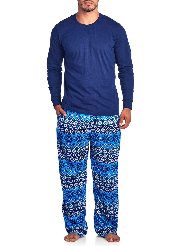 Ashford & Brooks Men's Jersey Knit Long-Sleeve Top and Mink Fleece Bottom Pajama Set - Royal Blue Fairisle - 3X-Large