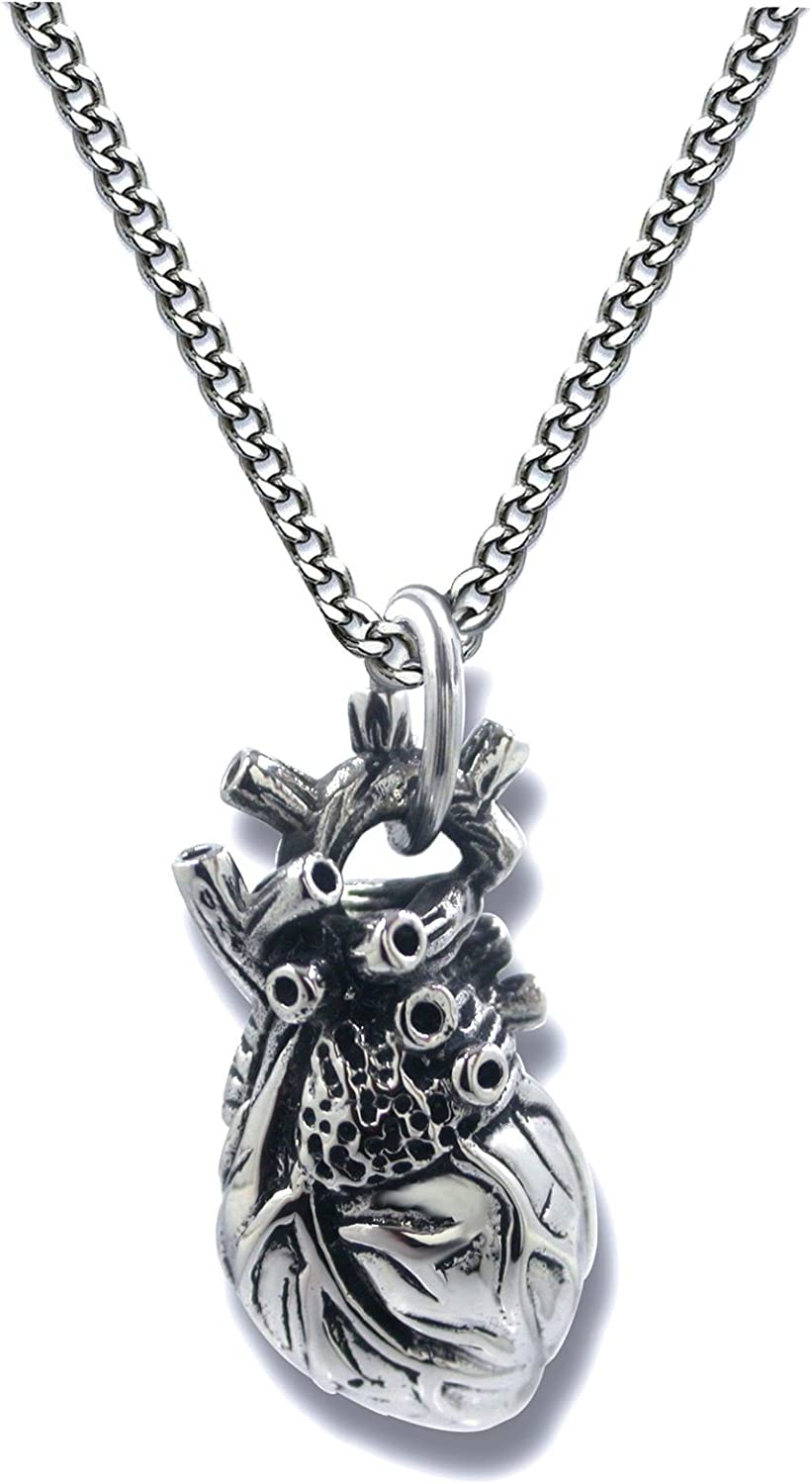 Pearlina Anatomical Heart Necklace Man or Woman 3D Pendant Oxidized Antique-Finish Stainless Steel, 24""