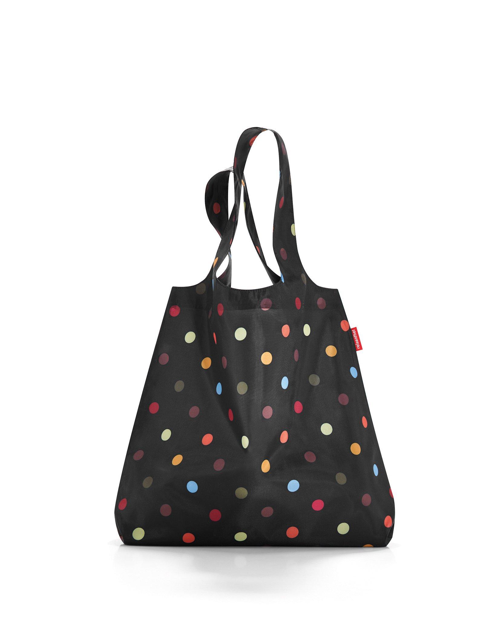 reisenthel Mini Maxi Shopper, Foldable Reusable Shopping Tote with Elastic Band, Dots