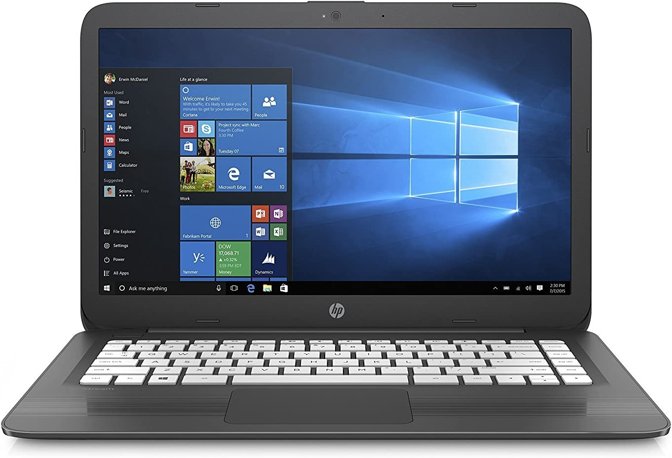 HP Lightweight Stream- 14in HD LED, Intel Celeron N3060, 4GB Ram, 64GB SSD, Intel HD Graphics, Win10 Home-Gray (Renewed)